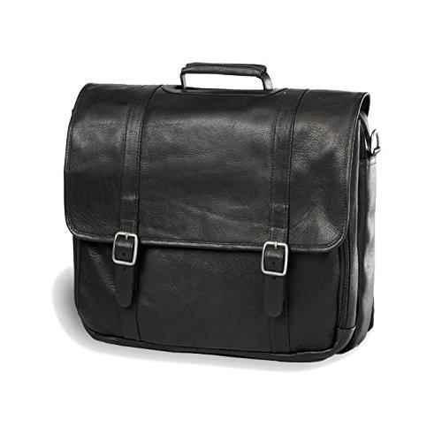 (Clava Leather Gusset Laptop Briefcase (Vachetta Black))
