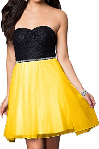 Sweetheart Yellow Dress Mini line Dress Avril Bridesmaid A Sequins Chiffon Homecoming BZwx5nFUq