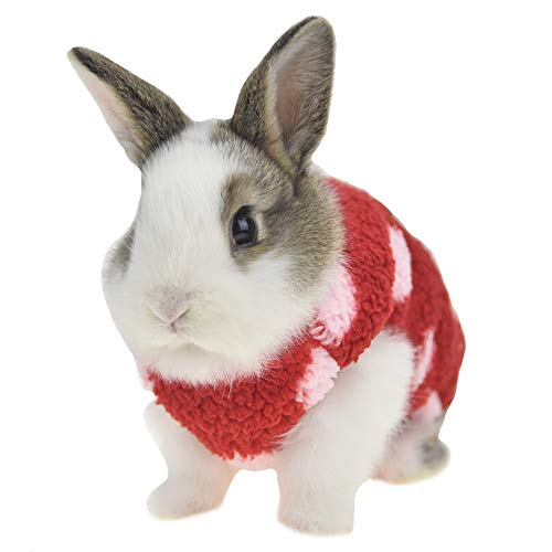 (FLAdorepet Winter Fleece Bunny Rabbit Guinea Pig Clothes Cute Small Animal Ferret Angel Costume Outfits (XXS(Chest 10.2