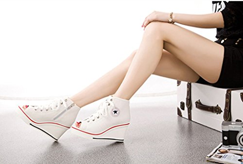 Jiye Damen Canvas High-Heels Fashion Sneaker Pumps Schuhe F-weiß