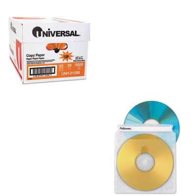 KITFEL90661UNV21200 - Value Kit - Fellowes Two-Sided CD/DVD Sleeve Refills for Softworks File (FEL90661) and Universal Copy Paper (UNV21200)