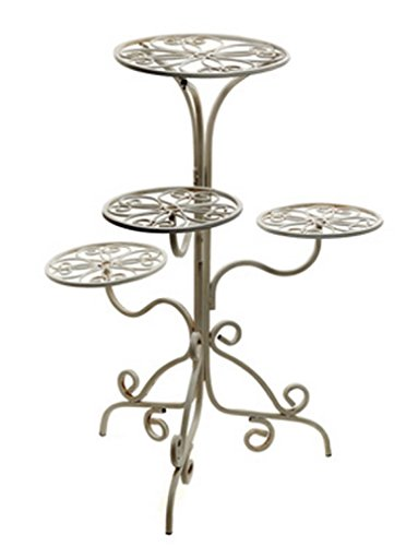 NapCo Antique White 4-Tier Plant Stand