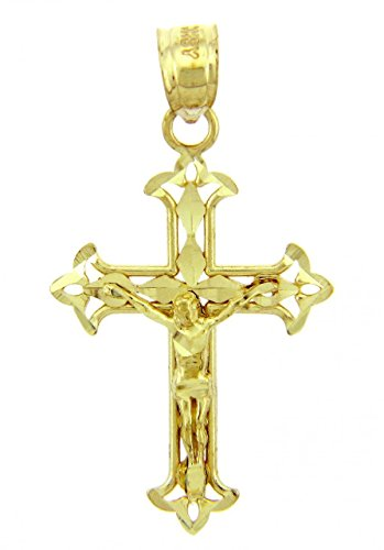 Solid 14k Yellow Gold Cross Charm Fleur-de-Lis Crucifix Pendant Gold Crucifix Cross Charm