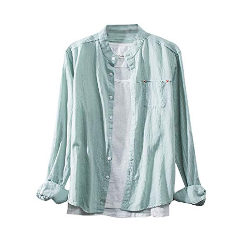 FONMA Fashion Men's Cotton Linen Solid Color Long Sleeve Retro Shirts Tops Blouse Army Green