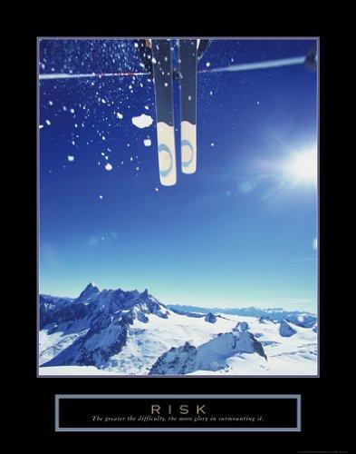 Risk Downhill Ski Motivational Poster Inspirational Art Print Art Poster Print, 22x28