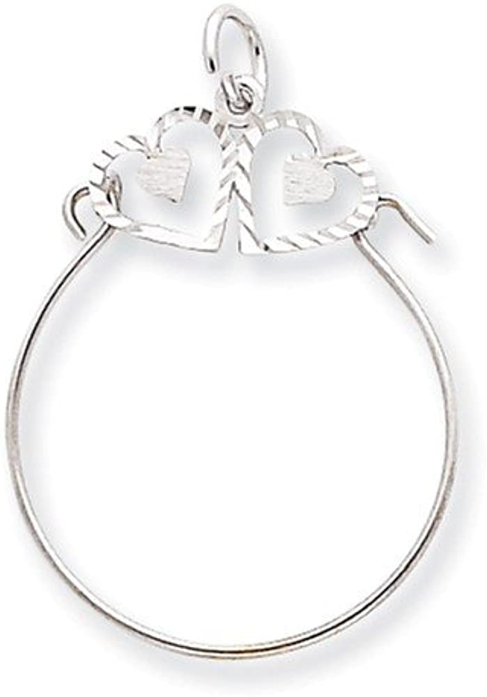10K White Gold Charm Pendant 35 mm 26 Double Hearts On Top Holder For