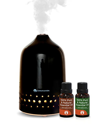 Essential Oils Starter Kit - Black Oasis Ultrasonic Diffuser, Aromatherapy Best Oil Diffuser, Essential Oils Diffuser Kits, Color Changing, Humidifier, Essential Oils Set, Auto Shutoff, GuruNanda -