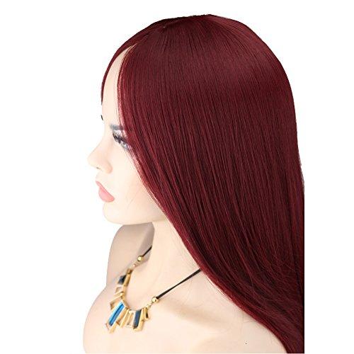 Kalyss Women's Long Straight Wine Red Mid-split Bangs Heat-resistance Kanekalon Full Hair Wig (Fancy Dress Red Wig)