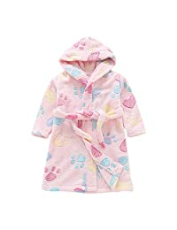 YAGATA Baby Boys Girls Bath Towel Soft Plush Flannel Fleece Hooded Bath Robe Cute Hooded Sleepwear