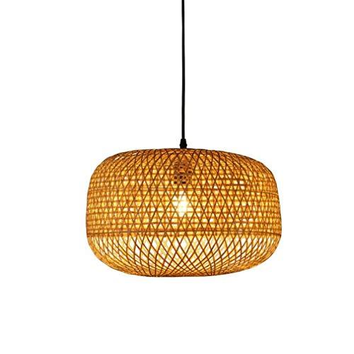 Araña Iluminación Colgante Luz Lámpara Bambú De Mimbre De ...