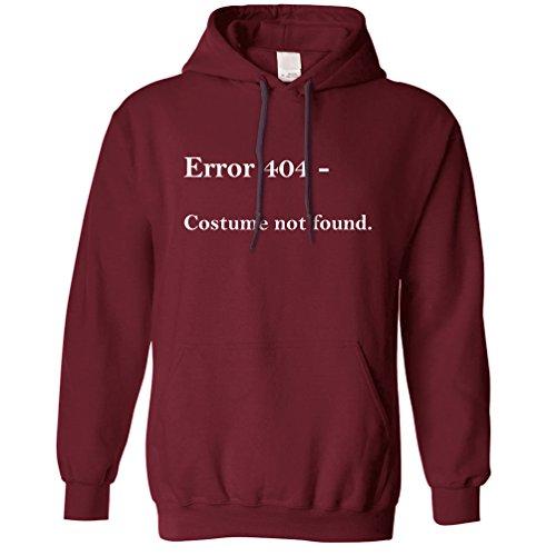 Nerdy Halloween Unisex Hoodie Error 404, Costume Not Found Maroon XS ()