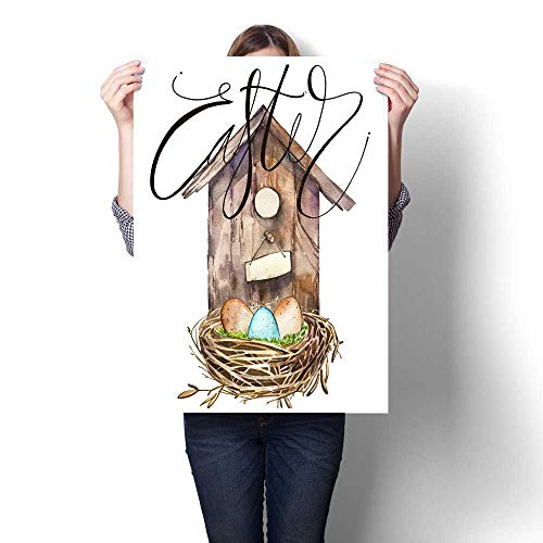 Canvas Painting Sticker Watercolor Birdhouse with Bird nest with Eggs Word - Easter Hand Painted Nesting Box Isolated on White Background Easter Design Print On Canvas for Wall Decor 32