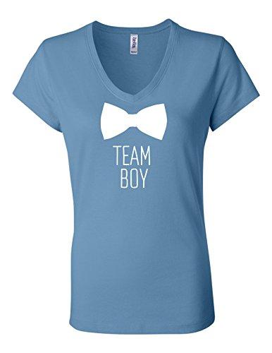 Boy Womens Light T-shirt (Team Boy Bowtie Gender Reveal 6005 Womens Premium V-Neck T-Shirt Humorous T Light Blue Large)