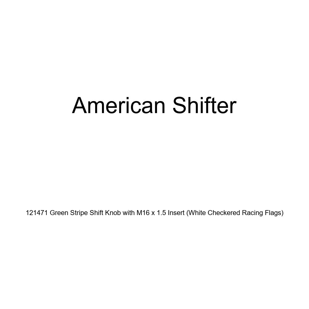American Shifter 121471 Green Stripe Shift Knob with M16 x 1.5 Insert White Checkered Racing Flags