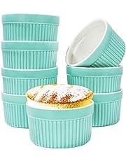 6oz Porcelain Ramekins, SZUAH 3.5 INCH Classic Style Ramekins for Baking