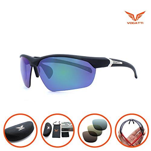 Vogatti Polarized Designer Fashion Sports Sunglasses for Fishing Baseball Ultra Light (Matte Black, C4- Grey PC Polarized with Green - Cheap Sunglasses Asian Fit