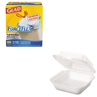 KITCOX70427GPKSN227 - Value Kit - Genpak Snap It Foam Container (GPKSN227) and Glad ForceFlex Tall-Kitchen Drawstring Bags (COX70427)