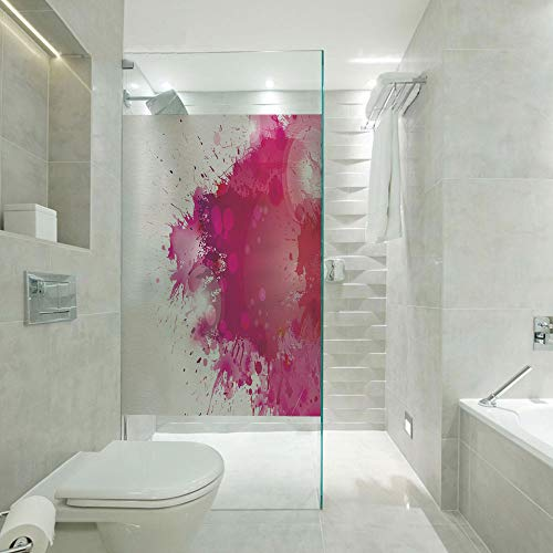 3D No glue Glass Film Window Stickers,Artistic Display with Pink Watercolor Splashes Paint Splatters Fluid Brush Decorative,W23xL47 inch,Apply to Bathroom doors,windows,doors,cabinets etc. Pink Hot Pi
