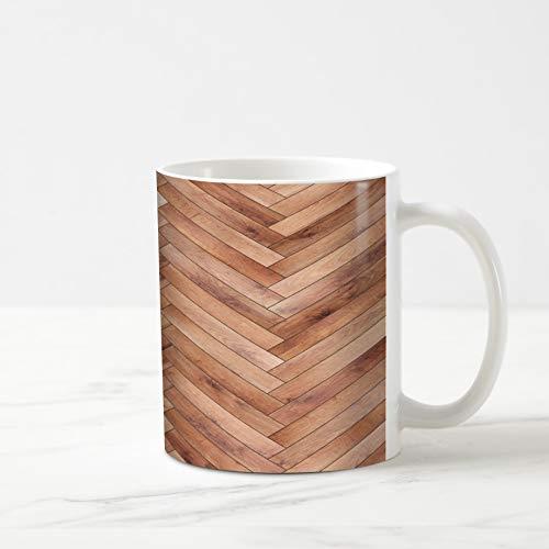 Ahawoso Coffee Tea Mug 11 Ounces Light Brown Ash Wood Parquet Herringbone Natural Arrow Beechwood Chevron Floor Flooring Design 11Oz Ceramic Tea Cups Gift Great Boss Coworker Friend Present ()