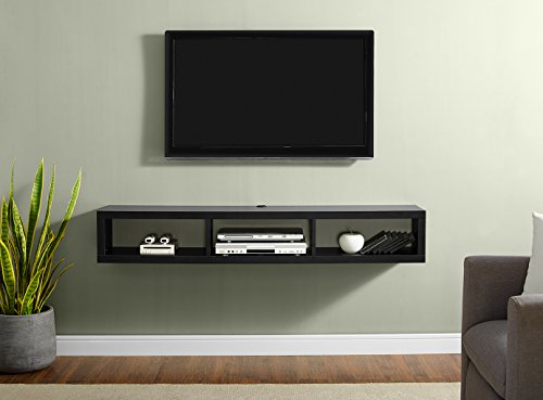 Martin Furniture IMSE360BK Shallow Floating TV Console, 60inch, Black (Component Wood)