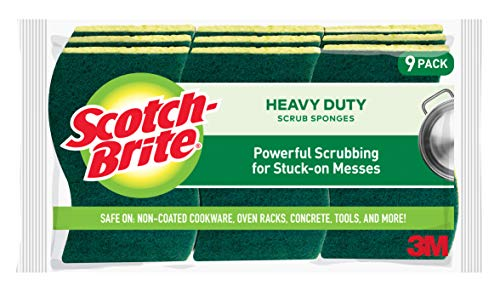 Scotch-Brite Heavy Duty Scrub Sponges, Powerful Scrubbing for Stuck-on Messes, 9 Scrub Sponges