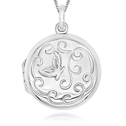 925 Sterling Silver Hummingbird Round Locket Necklace, - Hummingbird Locket