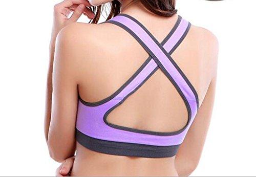 Sport BH de sostén sujetador push up Fitness Yoga BH Soft de Stretch sin asa 85C–�?0d, negro morado