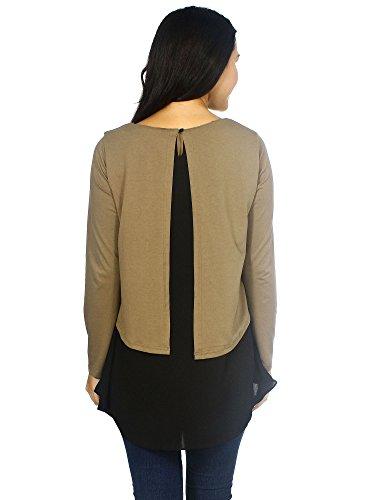 A Top Camicetta L Simplicity Lunghe Scuro Donna Khaki Chiffon Con Maniche In Fwx0dZw