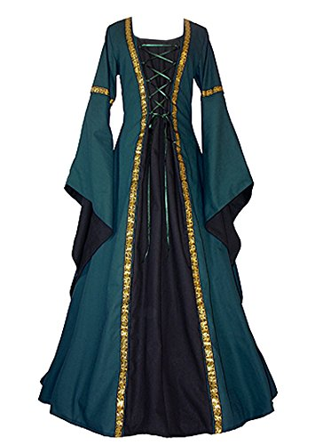EastLife Women's Halloween Costumes Medieval Gothic Dress Renaissance Vintage Lace Up Floor Length Cosplay Witch (Witch King Cosplay Costume)