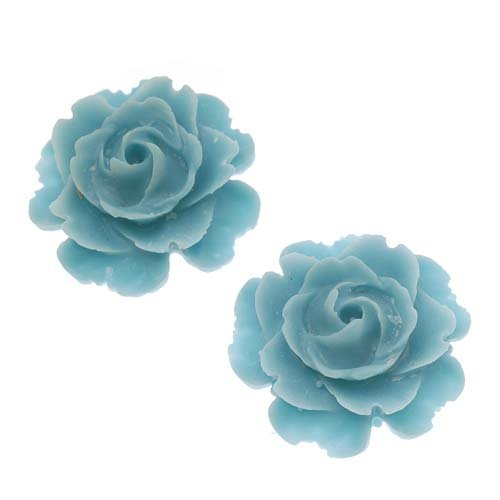Beadaholique Lucite Flower Cabochons 2-Piece Blooming Rose Beads, 23mm, Matte Dusty - Mm 23 Matte
