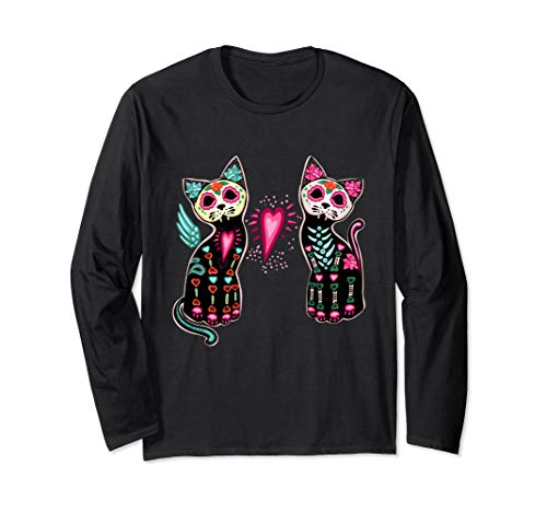 - Day of Dead Sugar Cat T-Shirt Cats Skeleton Long Sleeve Tee