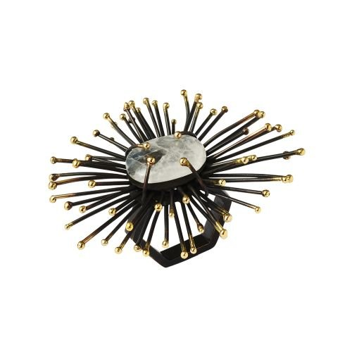 Kim Seybert Flare Napkin Ring In Gold & Black, Set of 4 by Kim Seybert