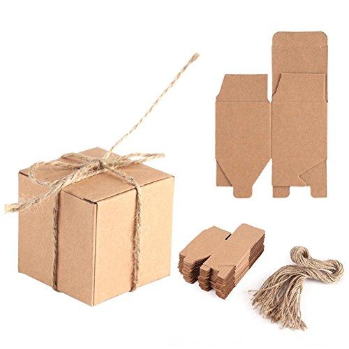 Haofy 50 Piezas Bolsas de Regalo, Cajas de Papel Kraft Cajas de Dulces de Regalo con Cuerda Bolsa para Boda Favor Fiesta,...