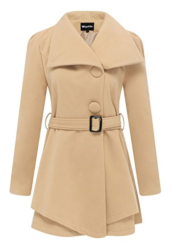 Wantdo Women's Wool Wrap Swing Coat With Belt US Small Khaki (Ladies Swing Coat)