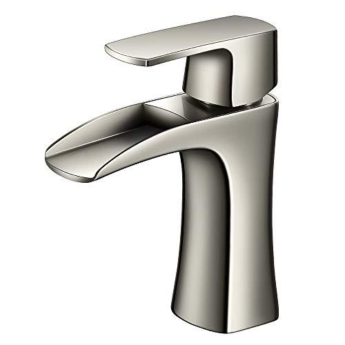 JAKARDA Waterfall Single Handle Bathroom Sink Faucet One Hole Mounted Brushed Nicke (Brushed Nickel) (Bathroom Single Hole Waterfall)