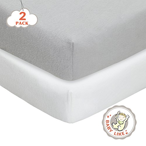 TillYou 2 Pack Fitted Crib Sheet-100% Woven Cotton Flannel,