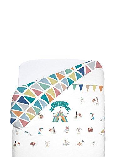 Petit Lazzari Petit Circus - Funda nórdica reversible para cuna de 60 x 120 cm, diseño Urban, color verde agua Lazzari Textil s.l.