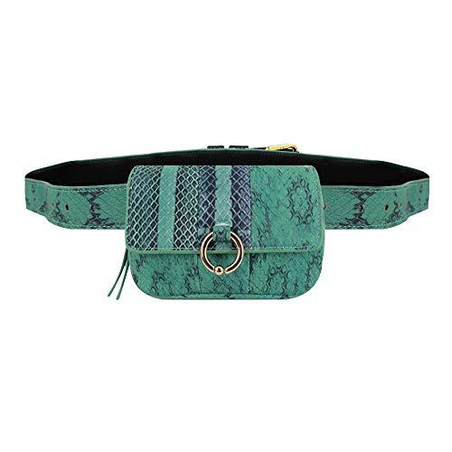 Danse Jupe Women Snakeskin Pattern PU Mini Fanny Waist Pack Chain Shoulder Purse,Green