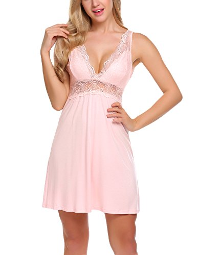 Pink Short Nightgown (Ekouaer Sexy Cotton Nightgown Short Lace Chemise Sleepwear For Women)