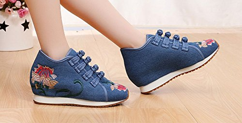 Sneaker Da Donna Con Fibbia Antiscivolo Fiore Avacostume Blu