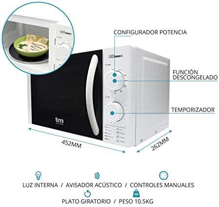 TM Electron TMPMW001G EASYWAVE microondas con grill y capacidad de 20L, 700W de potencia, 6 configuraciones de funcionamiento con modo descongelar y temporizador de 30 min