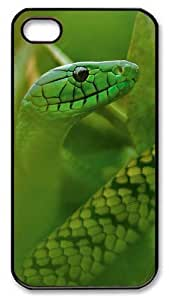iPhone 4s Case & Cover - Hd Green Snake Polycarbonate Plastics Hard Case Cover for iPhone 4s/4 - Black