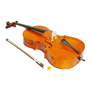 4/4 Full Size Natural Color Wood Cello Outfit + Carrying Bag + Bow + Rosin + Bridge