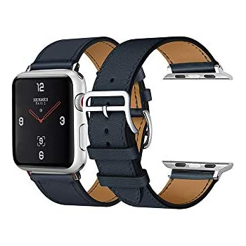 CAILIN Compatible Bands Replacement for Apple Watch 40mm Series 4,Luxury Genuine Leather Smart Watch Band Strap Single Tour Replacement(Indigo, 40mm)