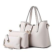 Simple Pure Color Handbags Shoulder Bag Purse 3 Pieces Set for Women Lady beige