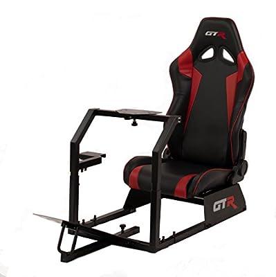 GTR Racing Simulator GTA-BLK-S105LBKRD GTA Model Black Frame with Black/Red Real Racing Seat, Driving Simulator Cockpit Gaming Chair with Gear Shifter Mount from GTR Racing Simulator