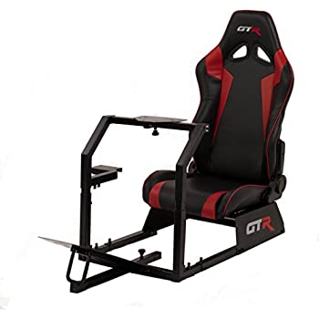 GTR Racing Simulator GTA-BLK-S105LBKRD GTA Model Black Frame with Black/Red Real Racing Seat, Driving Simulator Cockpit Gaming Chair with Gear Shifter Mount