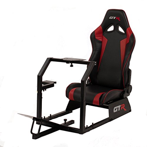 (GTR Simulator GTA-BLK-S105LBKRD GTA Model Black Frame with Black/Red Real Racing Seat, Driving Simulator Cockpit Gaming Chair with Gear Shifter Mount)