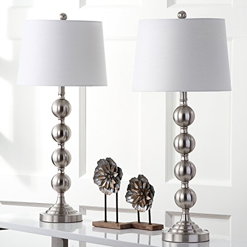 Safavieh Lighting Collection Stacked Gazing Ball Nickel 32.5-inch Table Lamp (Set of 2) (Table Lamp Lucite)