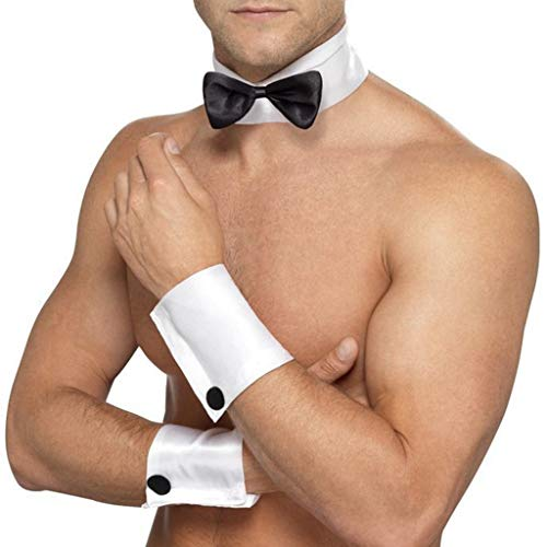 (YiZYiF Male Stripper Costume Set Collar Bow Tie and Cuffs Playboy Bunny Chippendale Kit White One Size)